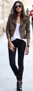 Jeans with a biker jacket