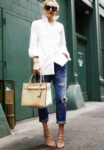Jeans with a white shirt