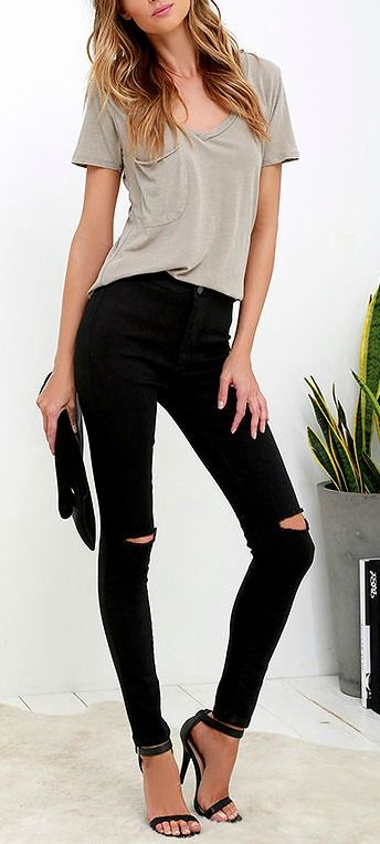 Jeans with heels