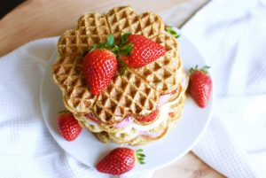 Low Carb Waffles with Caramelized Banana and Fresh Strawberries.
