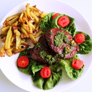 Ostrich Lettuce Cup Burgers with Sweet Potato Fries and Basil Pesto