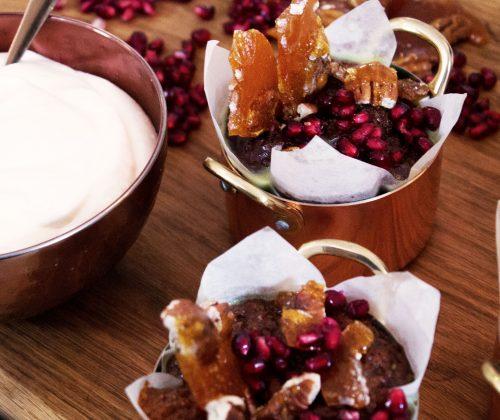 Orange & Anise Malva Puddings With Pecan Brittle & Whipped Cream