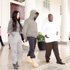Kim and Kanywe West in Uganda_YOWERI K MUSEVENI