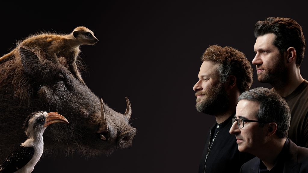 Billy Eichner, Seth Rogen, and John Oliver as Timon, Pumbaa, and Zazu