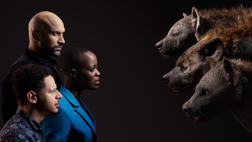 Keegan-Michael Key, Florence Kasumba, and Eric Andre as the hyenas Kamari, Shenzi, and Azizi